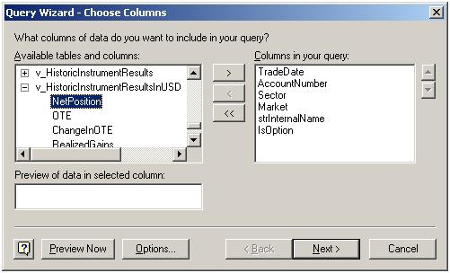 Query Wizard - Choose Columns